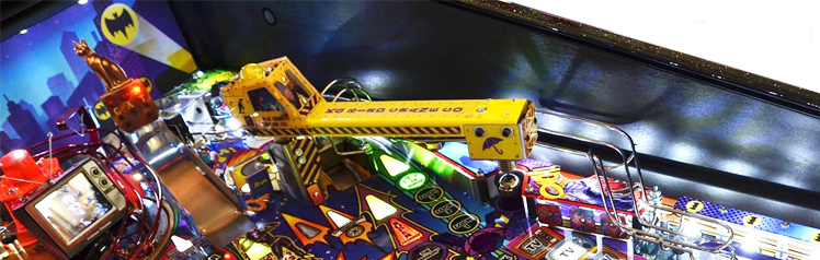 The Penguin's crane on the Batman 66 pinball machine playfield