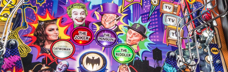 The villains on the Batman 66 pinball machine playfield