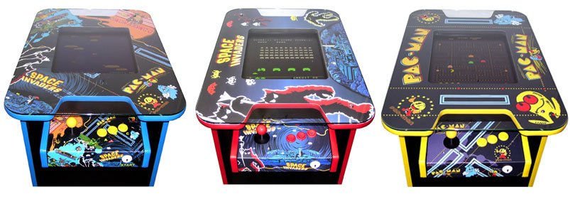 Graphic showing the three designs available for the Retro Arcade gaming machine