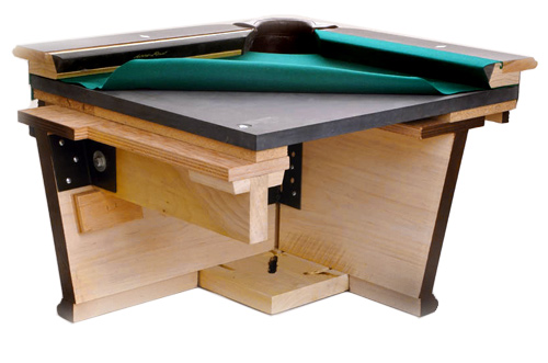 Slate bed pool table cut-away (used with permission).