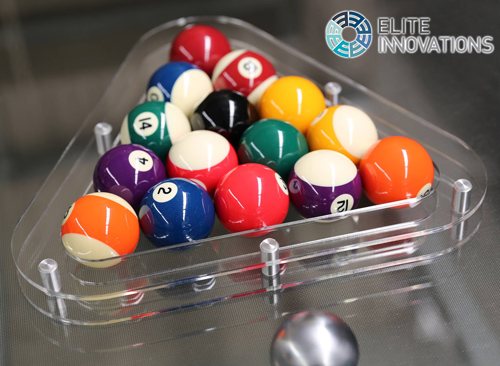 Plexiglass triangle supplied with Elite Innovations pool tables
