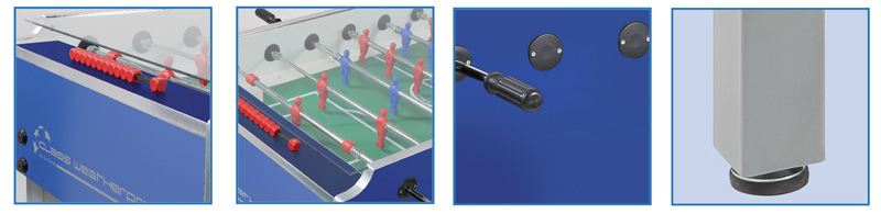 Details of features on the Garlando Class WP football table