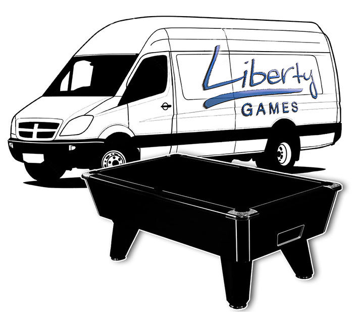 Liberty Games pool table moving services.