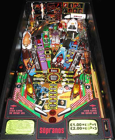 The playfield on the Sopranos pinball machine