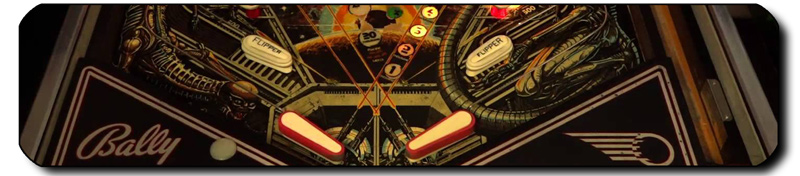 Detail of the four flippers on the Bally Space Invaders pinball machine