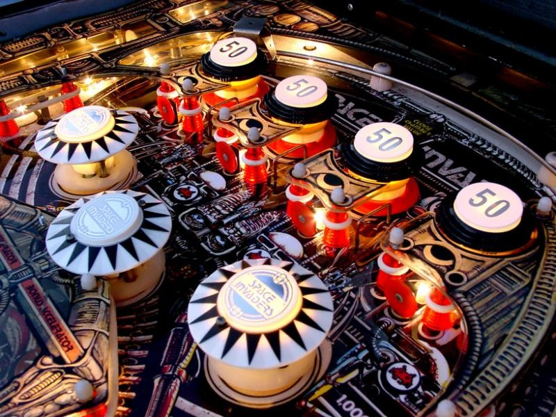 Detail of the Space Invaders pinball machine playfield.