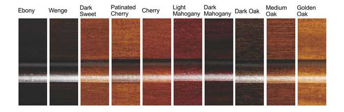 Standard woodstain finishes for Toulet pool tables