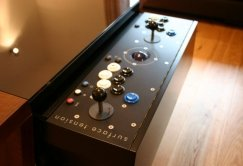 Contemporary Arcade Coffee Table - Walnut Button Panel