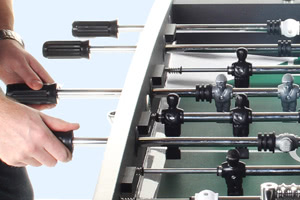 The Aurora foosball table features telescopic rods