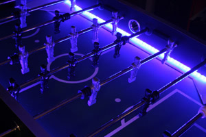 The Aurora foosball table is fitted with LED lights