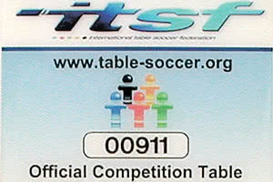 The ITSF certificate for the Garlando Master Champion football table