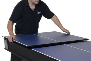 The included table tennis top transforms the 6ft Multi Games table