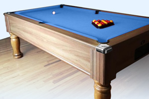 The Monarch pool table with blue cloth