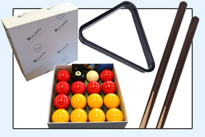 The accessories supplied with the Omega pool table