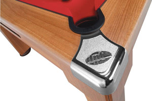 The Windsor pool table has protective metal corner caps