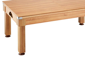 The Windsor converts to dining table with the included tops