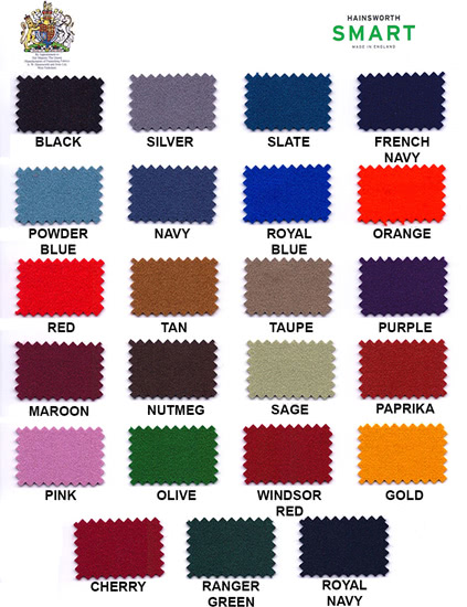 Cloth options for the Supreme Slimline pool table