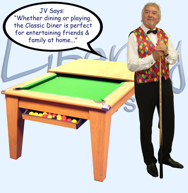 John Virgo endorses the Classic Diner pool table