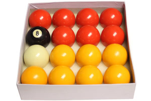 The balls supplied with the Classic Diner pool table