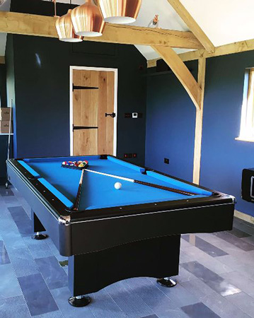The Eliminator pool table in a games room