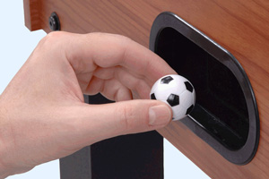 The ball port on the Garlando F-5 football table