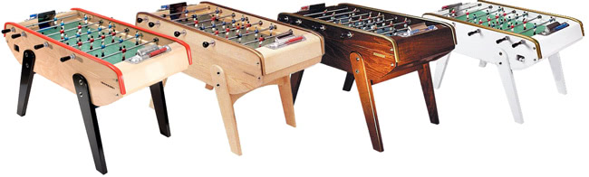 The B90 foosball table in four colour options