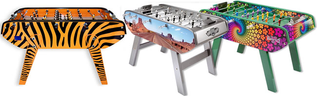 The B90 foosball table in a selection of colour options