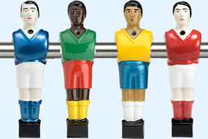 Hand-painted foosball table player figures