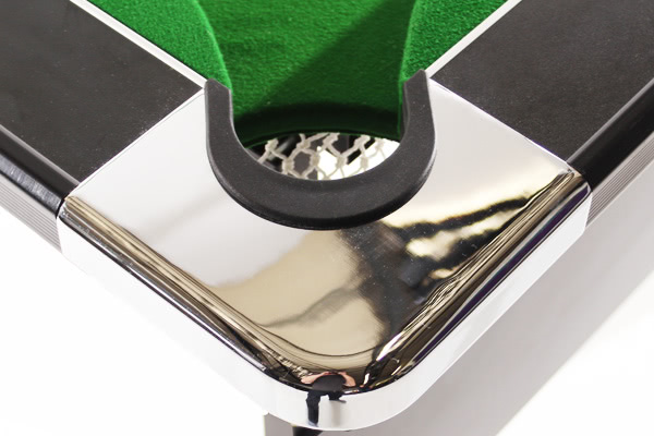 The corner cap on the Deluxe Foldaway pool table