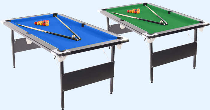 Green and blue cloths available for the Deluxe Foldaway pool table
