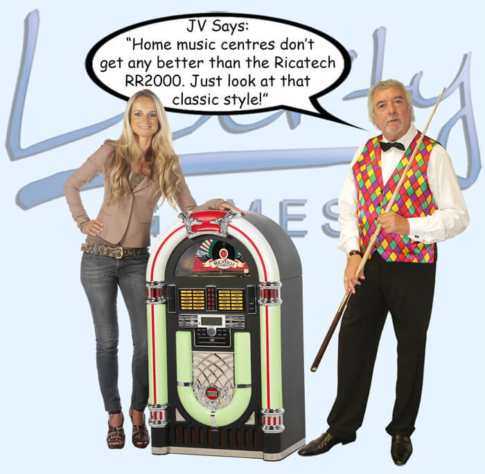 John Virgo endorses the Ricatech RR2000 jukebox