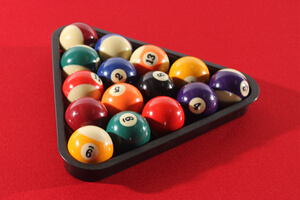 Spots and Stripes balls on a Strikeworth Pro American Deluxe 7ft Pool Table