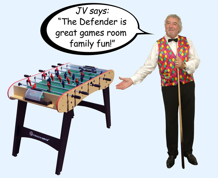 John Virgo endorses the Strikeworth Defender football table
