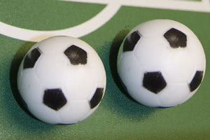 Free foosballs supplied with the Defender football table