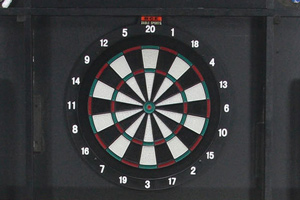The dartboard built into the FP-6TT pool table