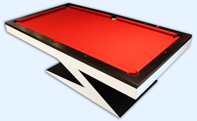 The Zen pool table with two-tone paint and orange cloth