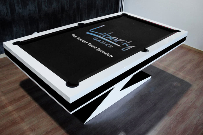 The Zen pool table with a custom cloth