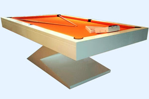 The Zen pool table with orange cloth
