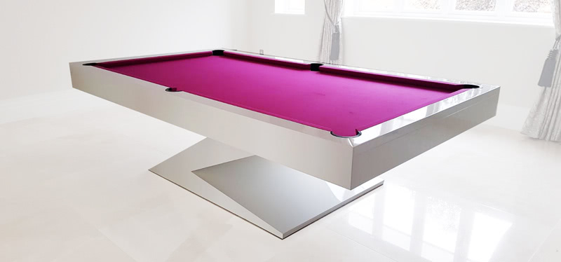 The Zen pool table installed with pink cloth