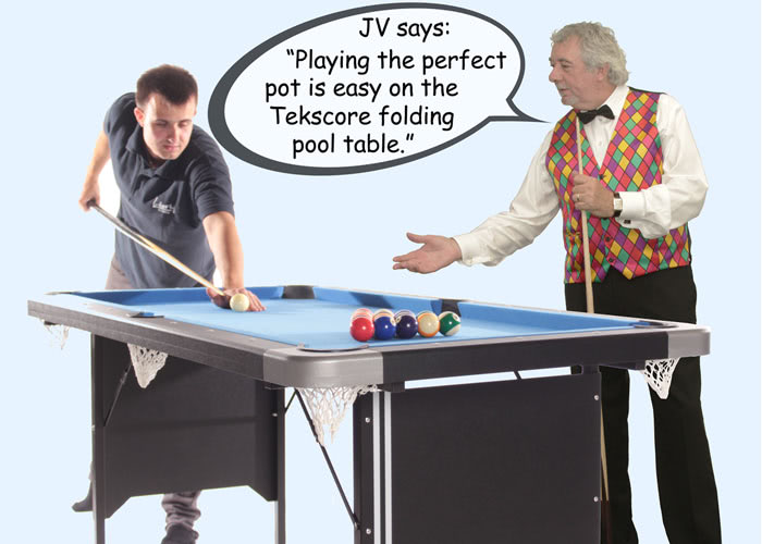 John Virgo endorses the Tekscore folding pool table