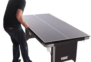 The Tekscore converts from pool to table tennis in seconds