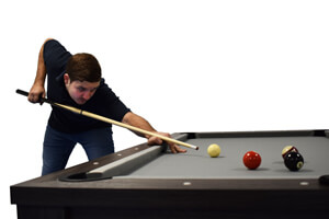 Playing a shot with the Strikeworth Value pool cue.