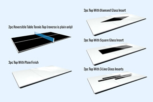 Tabletop options for Europa pool tables
