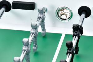 Three quarter view of the Strikeworth Classic foosball table