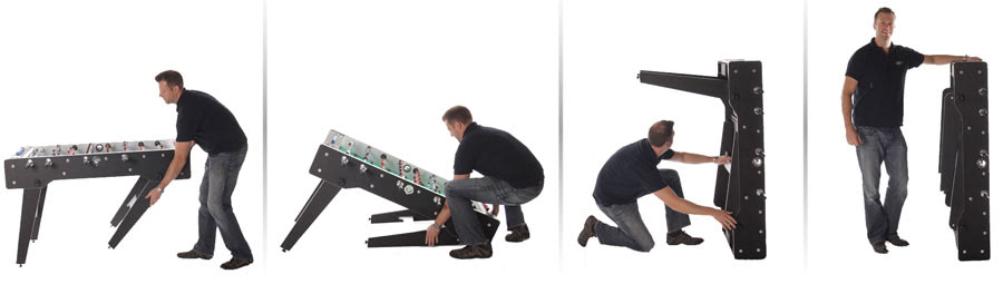 The folding process on the Tekscore folding foosball table