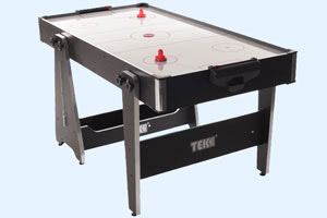 The Tekscore converts from pool to air hockey in seconds