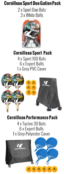 The Cornilleau Sport 250S table tennis optional accessories.