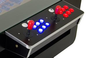 This coffee table arcade features two full sets of controls