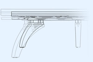 Blueprint-style illustration of the P40 pool table