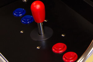 The controls fitted to the Mewsmnts Rcade cats arcade game